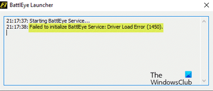Failed to initialize BattlEye service, Driver load error (1450)