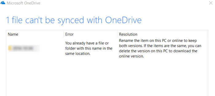 The file or folder already exists on OneDrive