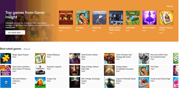 Games for Windows 10 from Microsoft Store