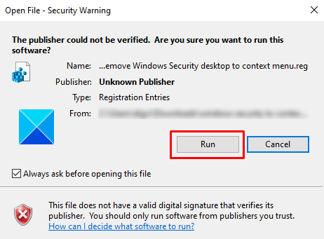How to Add Windows Security Context Menu in Windows 10