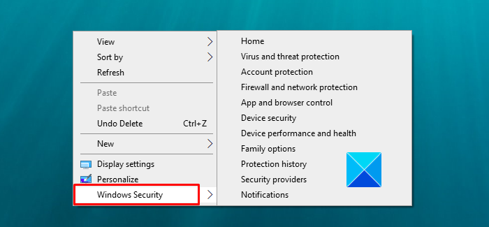 How to Add Windows Security Context Menu on Windows 10