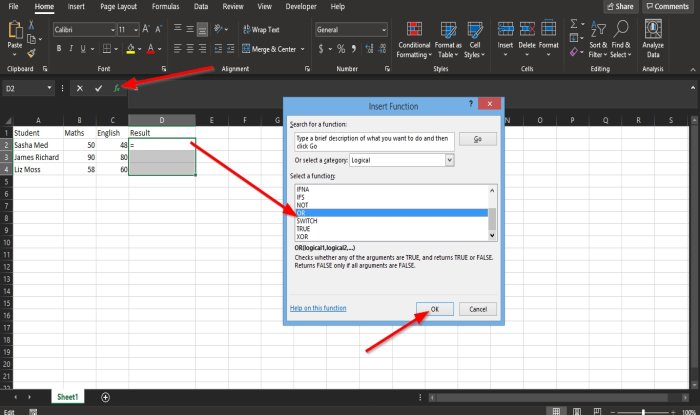 How to use Excel OR function