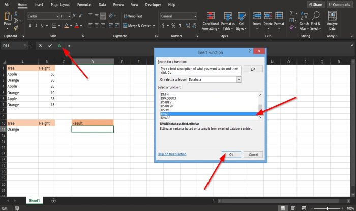 How to use the DVAR function in Excel