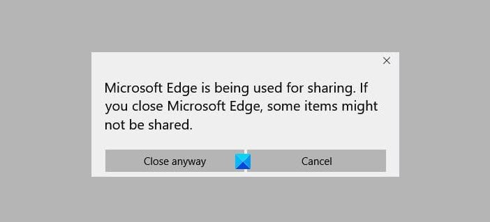 Microsoft Edge is being used for sharing