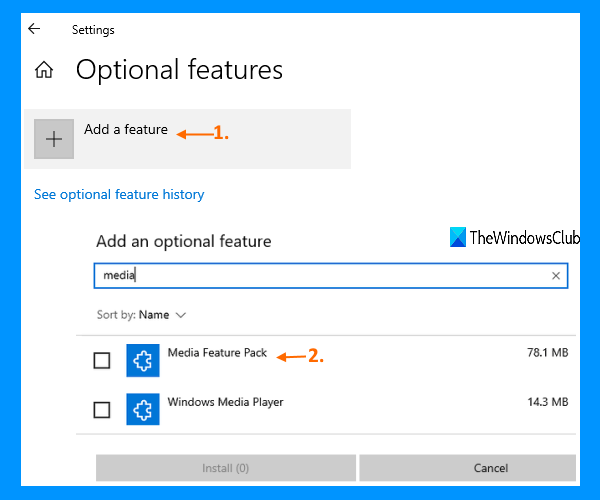 Optional features in Settings app