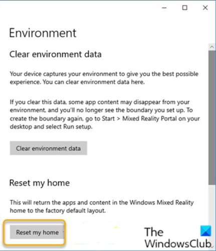 Reset Windows Mixed Reality Home to Default
