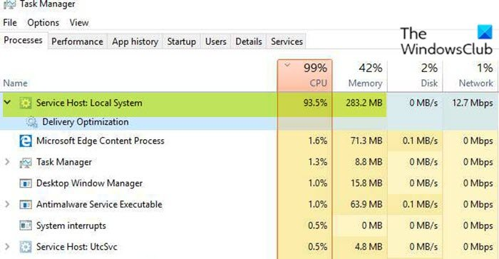 Service Host: Local System high CPU or Disk usage