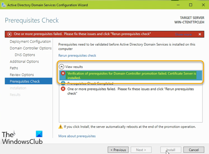Verification of prerequisites for Domain Controller promotion failed