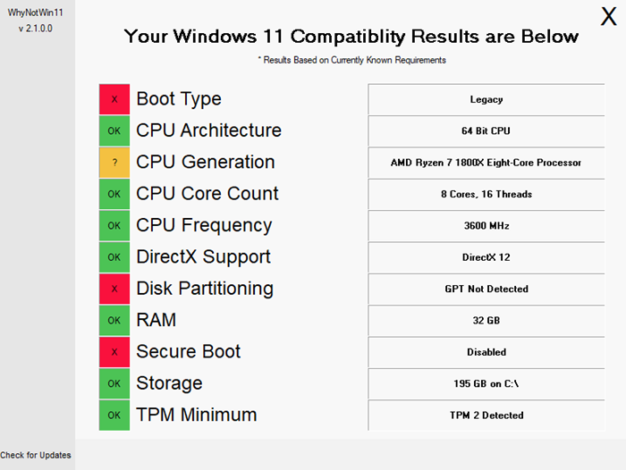 Why is my PC not compatible with Windows 11