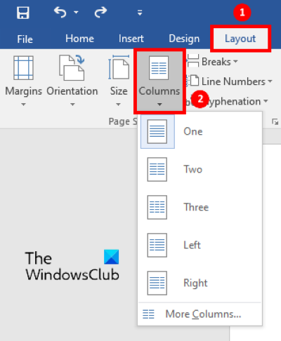 add newsletter comunns to word 1