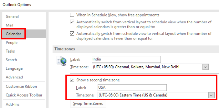 add second time zone outlook