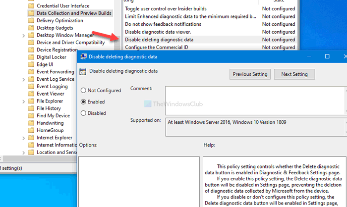 How to allow or prevent users from deleting diagnostic data in Windows 10