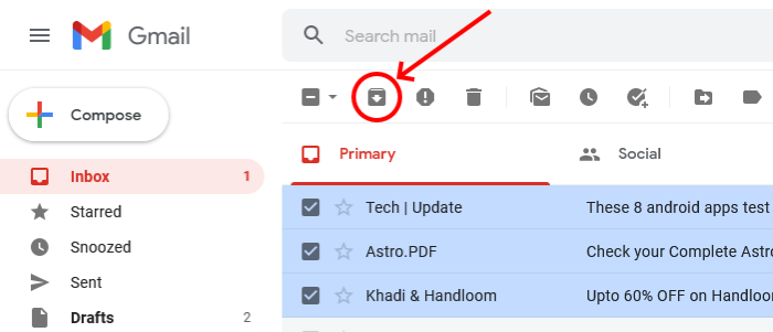 archive email in Gmail