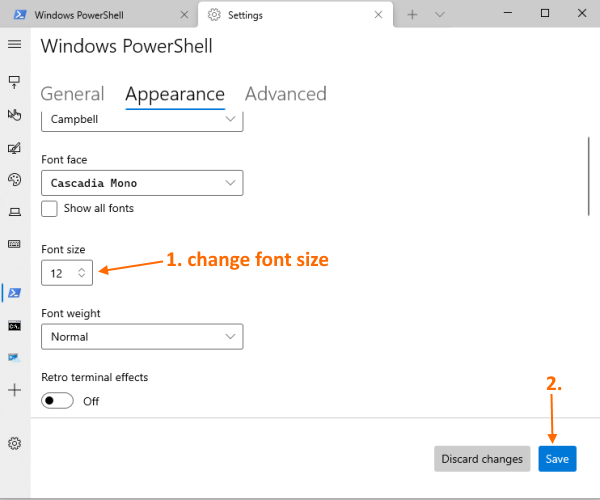 change font size and font weight for a Windows Terminal