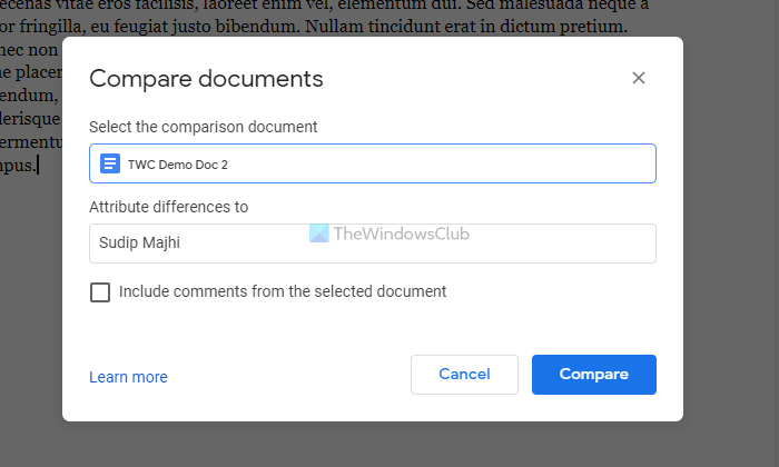 How to compare two documents in Google Docs