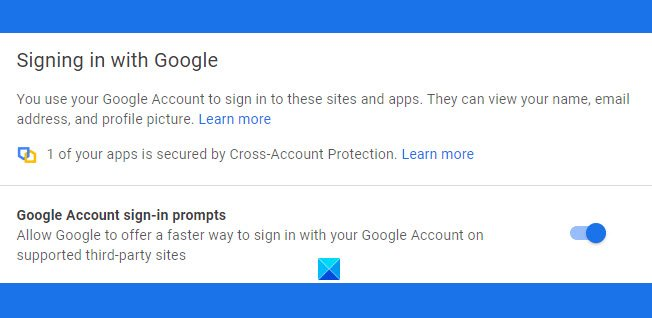 Disable Sign in with Google or Move to Google Account