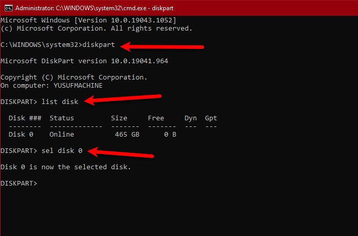 Failed to format selected partition, Error 0x8004242d