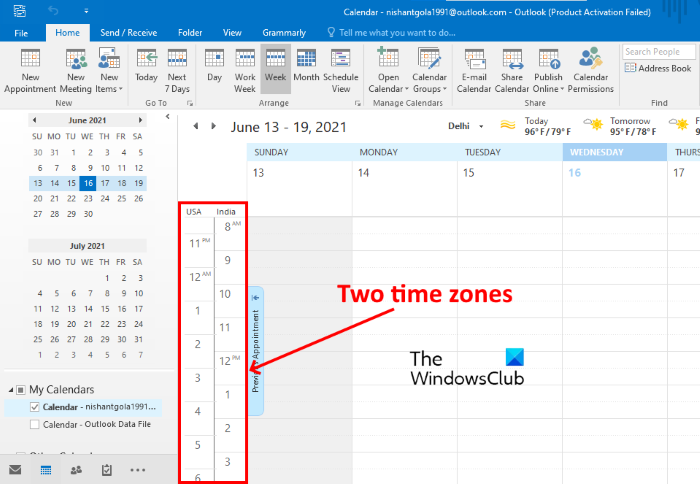 display two time zones outlook