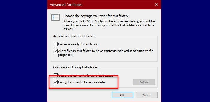 An error occurred applying attributes to the file in Windows 10