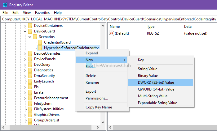 Enable to disable Core isolation Memory integrity using Registry Editor