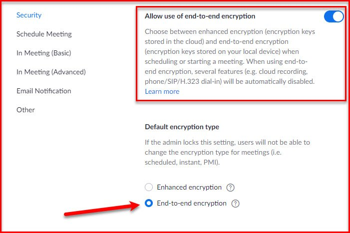 Enable End-to-End Encryption in Zoom