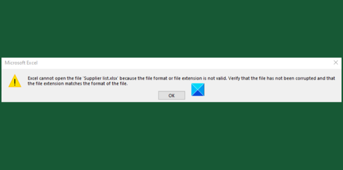 Excel cannot open the file because the file format or extension is not valid