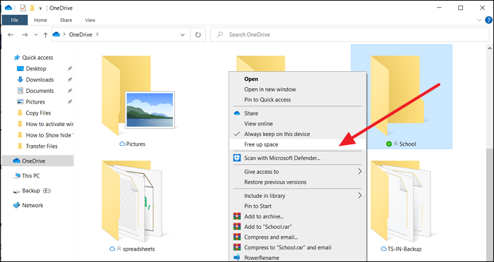 free up space OneDrive