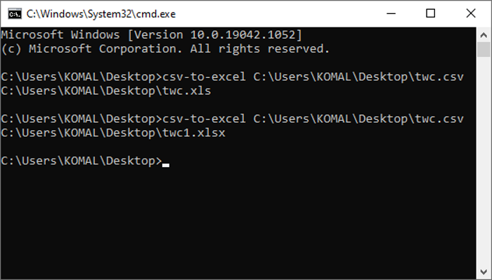 How to Convert CSV to Excel (XLS or XLSX) using Command line in Windows 10