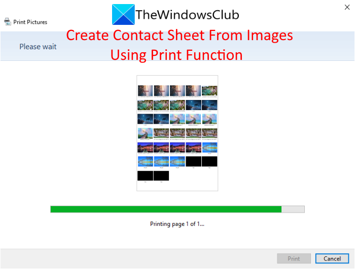 How to create a Contact Sheet from Images using Windows 10 Print function