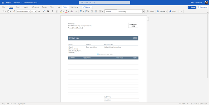 Best invoice templates for Word Online