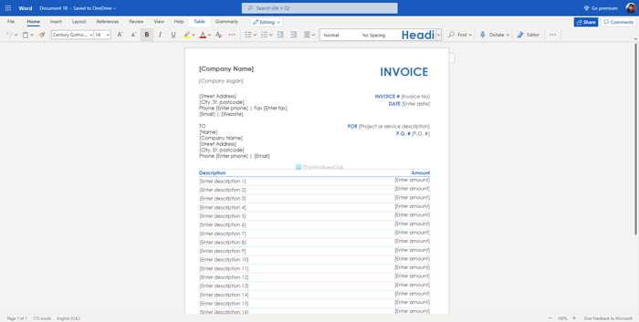 Best Invoice Templates For Word Online To Create Business Invoices Free