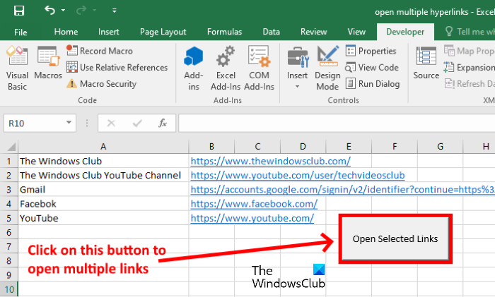 How to open multiple links from Excel at once