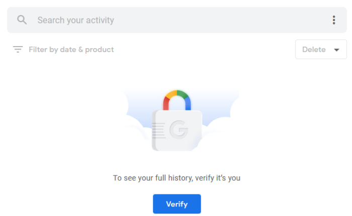 password protect google search history