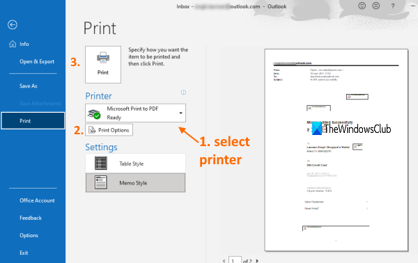print email using outlook