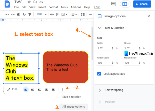 set size rotation text wrapping