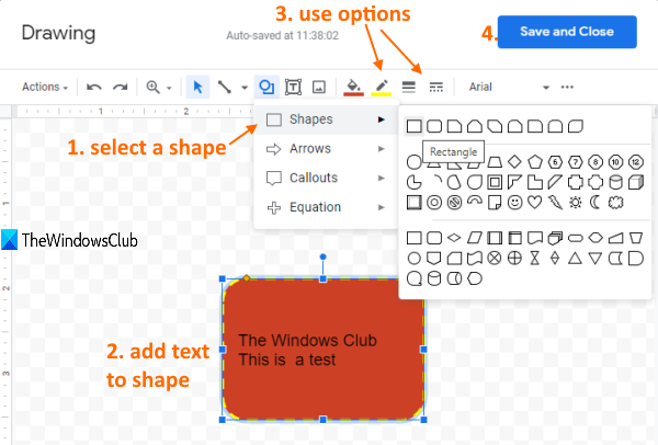 shape option in drawing