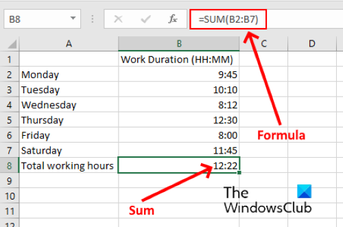 sum time in excel 1