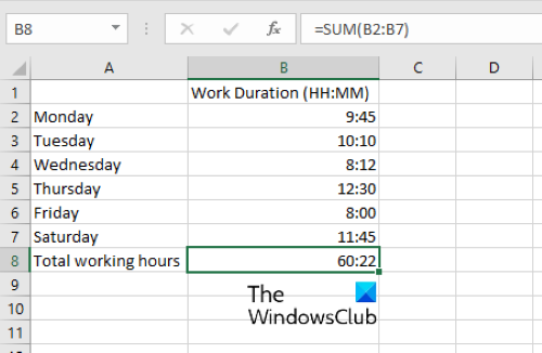 sum time in excel 3