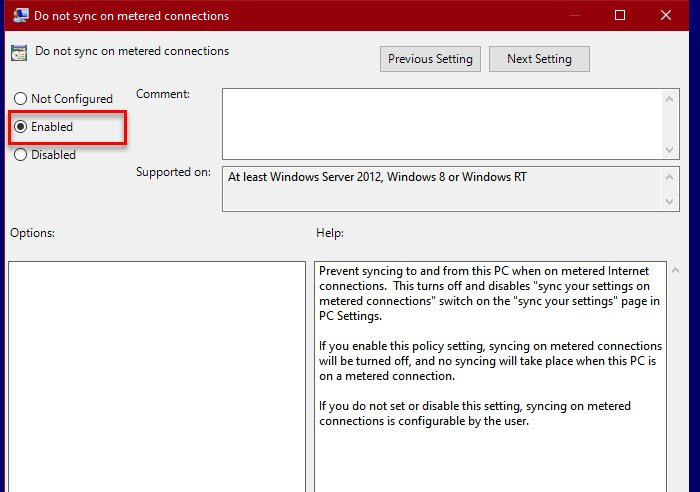 Enable or Disable Sync Your Settings on Metered Connections in Windows 10