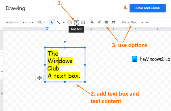 text box option in drawing