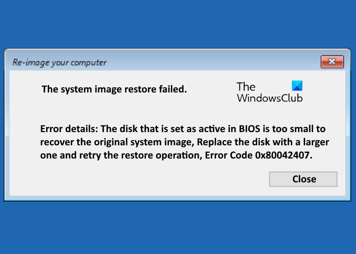 the system image restore failed