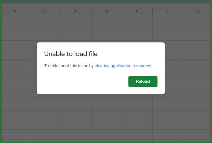 fix Google Sheets unable to load file error