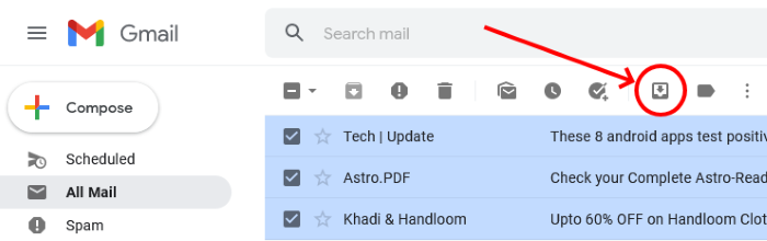unarchive email in gmail