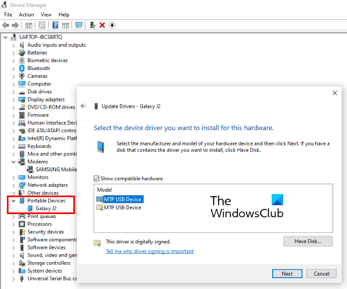 update MTP device driver