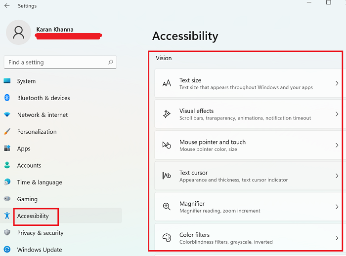 Accessibility settings for the blind in Windows 11