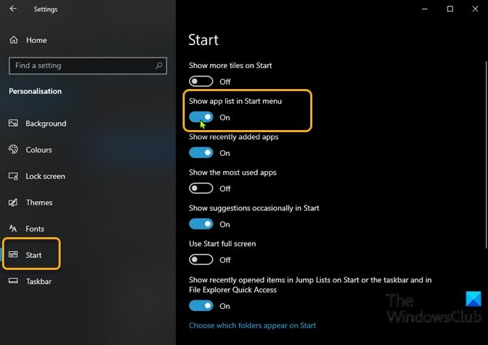 Add or Remove All Apps List in Start Menu-Settings app