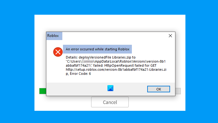 An error that occurred while starting Roblox Studio