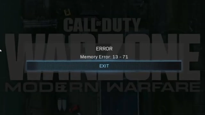 How to fix Memory Error 13-71 in Call of Duty Modern Warfare and WarZone