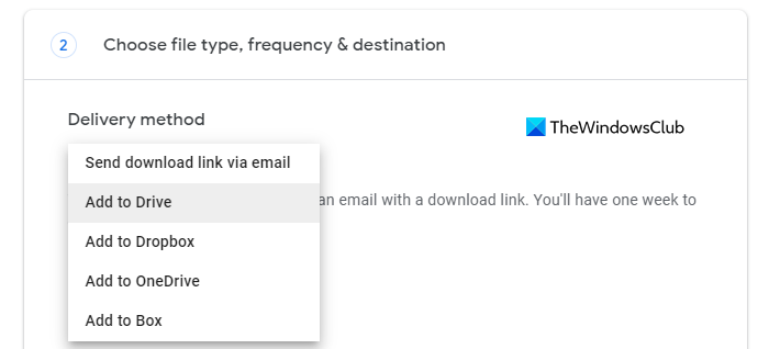 Choose file type, frequency, and destination