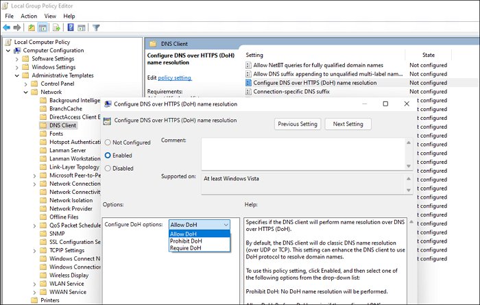 Enable DoH via Group Policy in Windows 11